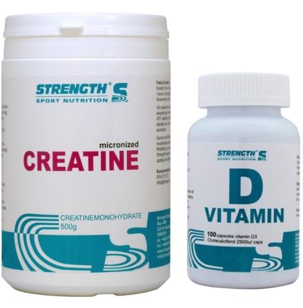 Kreatin 500g + D-vitamin 100 kapslar