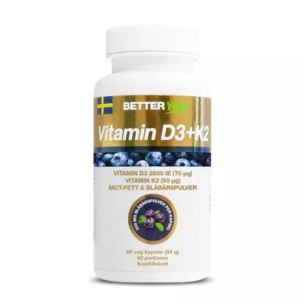 Vitamin D3+K2, 60 caps