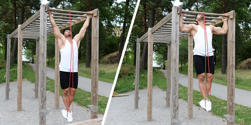 Pullups eller chins med Star Gear Fitness Band